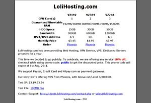 LoliHosting - $4 46 384MB OpenVZ VPS in Phoenix - Low End Box Low