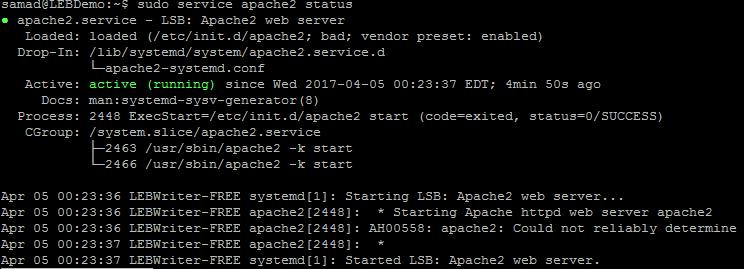 apache status running