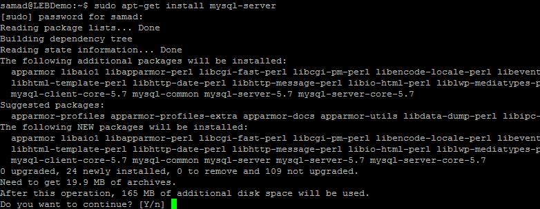installing MySQL database on Ubuntu 16.04