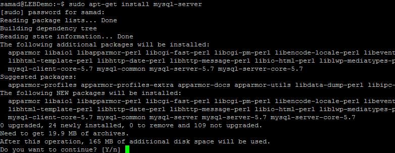 installing MySQL database on Ubuntu 16.04