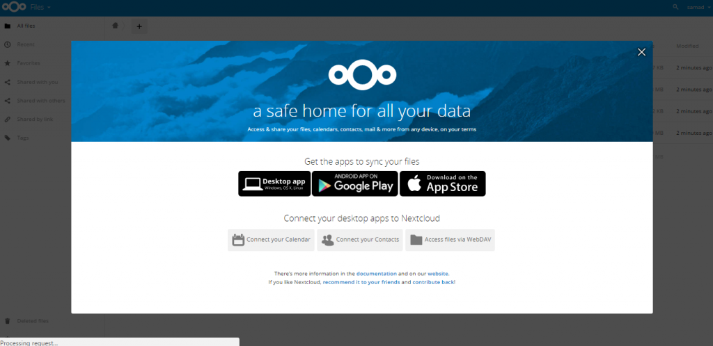 nextcloud successfully installed on Ubuntu 16.04