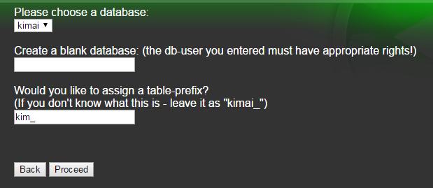 database set up for kimai