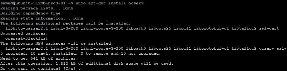 installing ocserv on Ubuntu 16.04