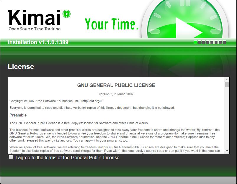 kimai installation agreement